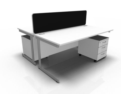 Kessel 2 Way Rectangle Cantilever Cluster With Mobile Pedestal In White