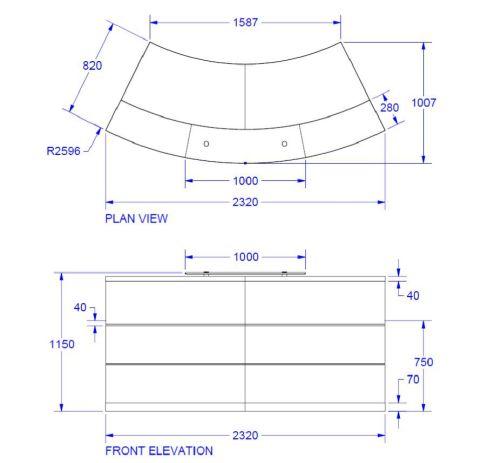 Evo Eclipse Curved Reception Desk Dims