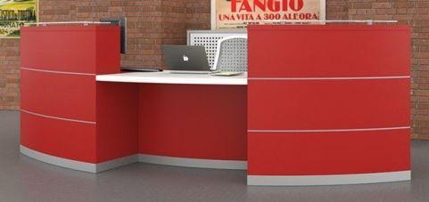 Evo Eclipse Two Person Reception Desk In Red Laminate