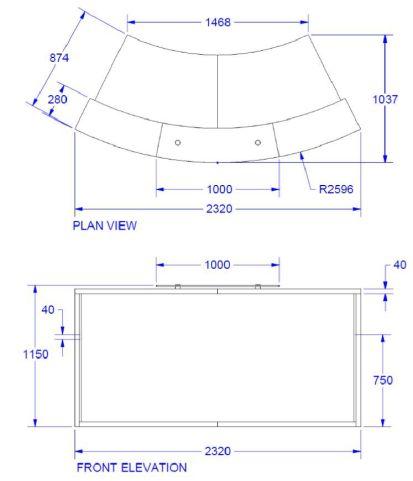 Evo Lite Curved Reception Desk Dimensions