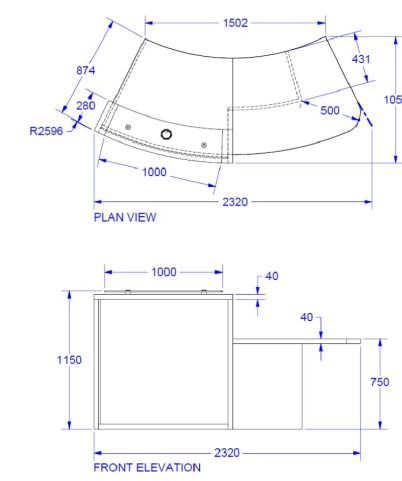 Evo Lite Curved Reception Desk Wit6h Left Hand Access Dimensions