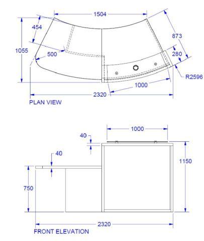 Evo Lite Reception Desk With Right Hand Access Dimensions