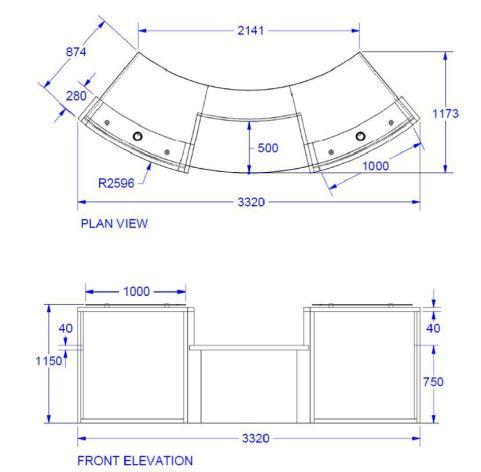 Elite Two Person Curved Reception Desk Dimensions