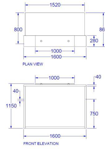 Evo Lite Compact Straight Reception Desk Dims