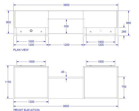 Evo Lite Two Person Straight Reception Desk Dimensions