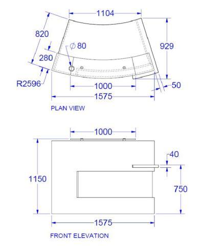 Evo Xpression Compact Curved Reception Desk Dimensions