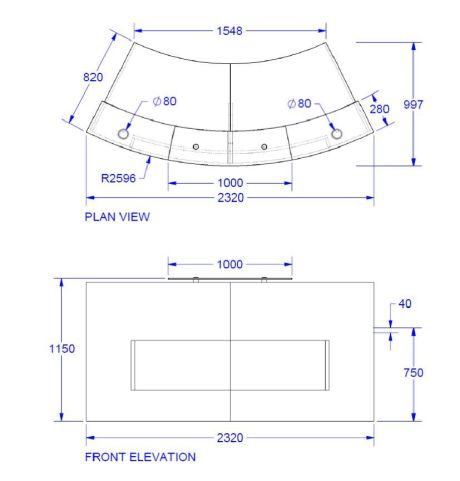 Evo Xpression Curved Reception Desk Dimensions