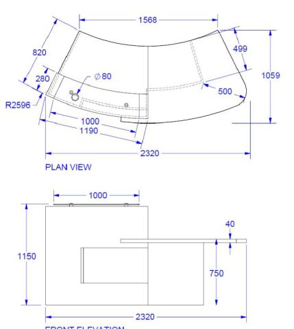 Evo Xpression Reception Desk With Left Hand Access Dimensions
