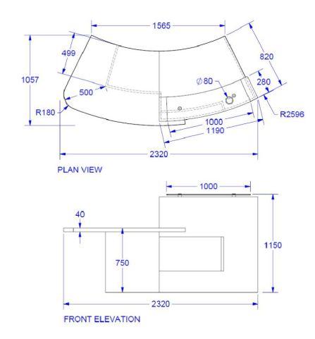 Evo Xpression Curved Reception Desk With Right Hand Access Dimenions