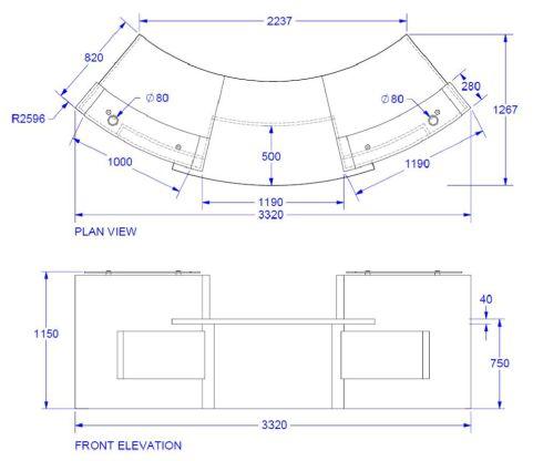 Elite Xpression Two Person Curved Reception Desk Dimensions