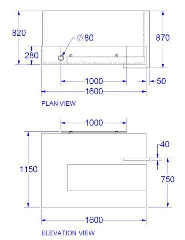 Evo Xpression Compact Straight Reception Desk Dims