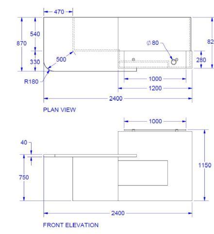 Evo Xpression Straight Reception Desk With Right Hand Access Dimensions