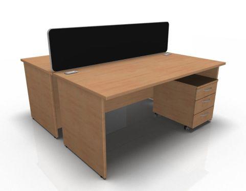 Kessel 2 Way Panel Rectangular Desk & Mobile Pedestal Cluster In Beech