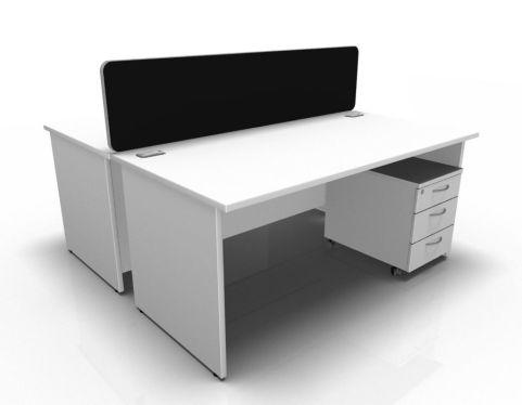 Kessel 2 Way Panel Rectangular Desk & Mobile Pedestal Cluster In White