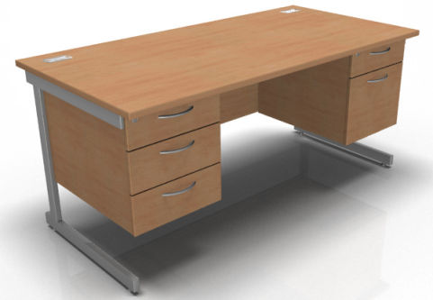 Kessel Rectangular Cantilever Double Fixed Pedestal Desk In Beech