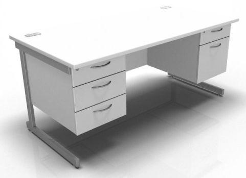 Kessel Rectangular Cantilever Double Fixed Pedestal Desk In White