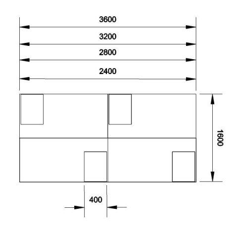 Kessel 4 Way Rectangular Desk & Mobile Pedestal Cluster - Cantilever Dimensions