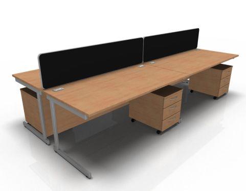 Kessel 4 Way Rectangular Desk & Mobile Pedestal Cluster - Cantilever In Beech