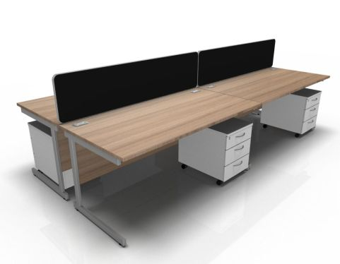 Kessel 4 Way Rectangular Desk & Mobile Pedestal Cluster - Cantilever In Birch & White