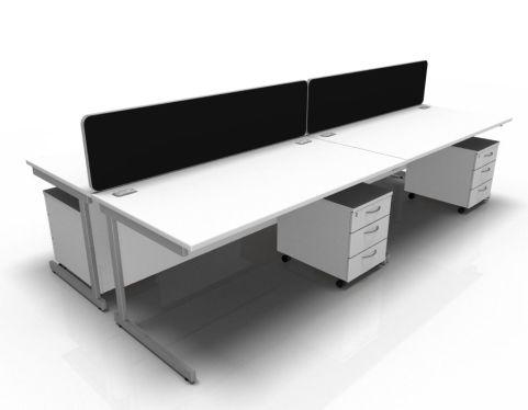 Kessel 4 Way Rectangular Desk & Mobile Pedestal Cluster - Cantilever In White