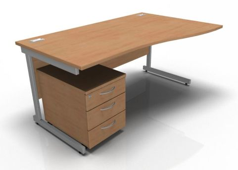 Kessel Right Hand Wave Desk And Pedestal In Beech