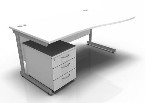 Kessel Right Hand Wave Desk And Pedestal In White
