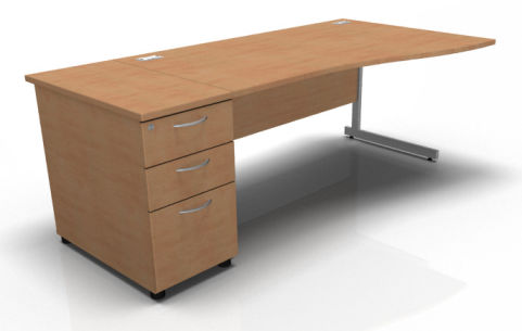 Kessel Right Hand Cantilever Wave Desk With Desk High Pedestal In Beech
