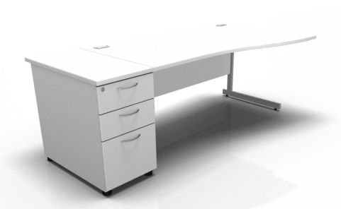 Kessel Right Hand Cantilever Wave Desk With Desk High Pedestal In White