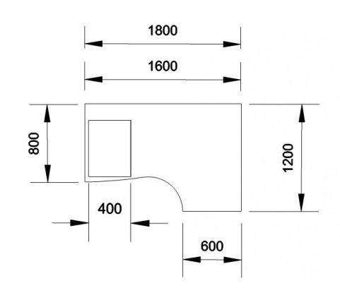 Kessel Right Hand Corner Desk & Mobile Pedestal Dimensions