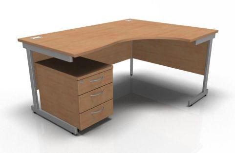 Kessel Right Hand Corner Desk & Mobile Pedestal In Beech