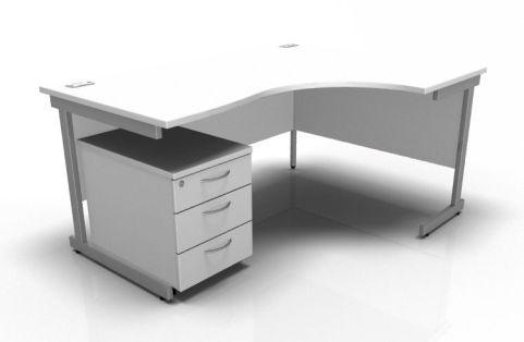 Kessel Right Hand Corner Desk & Mobile Pedestal In White