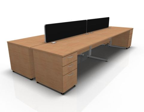 Kessel 4 Way Rectangular Desk & High Pedestal Cluster - Cantilever Frame In Beech