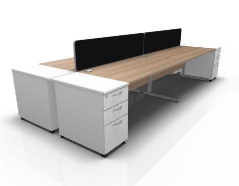 Kessel 4 Way Rectangular Desk & High Pedestal Cluster - Cantilever Frame In Birch & White