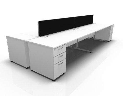 Kessel 4 Way Rectangular Desk & High Pedestal Cluster - Cantilever Frame In White