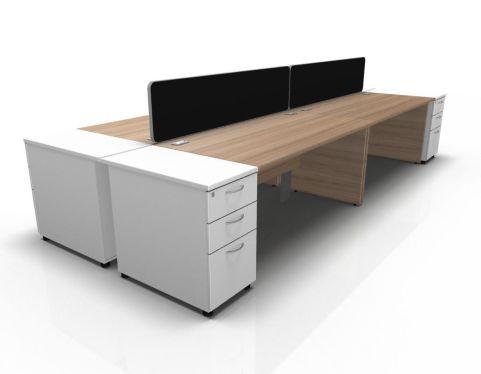 Kessel 4 Way Rectangular Desk & High Pedestal Cluster - Panel Side In Birch & White