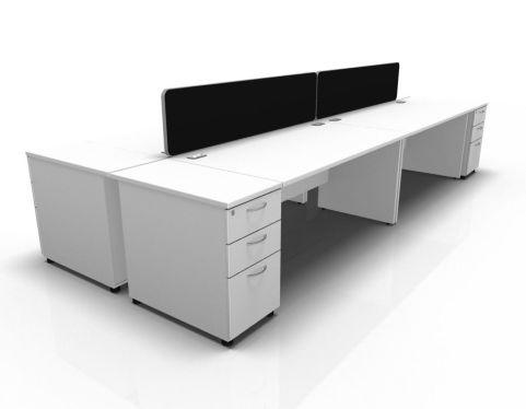 Kessel 4 Way Rectangular Desk & High Pedestal Cluster - Panel Side In White