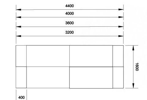 Kessel 4 Way Rectangular Desk & High Pedestal Cluster Dimensions
