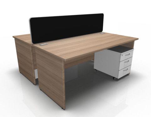 Kessel 2 Way Panel Rectangular Desk & Mobile Pedestal Cluster In Birch & White