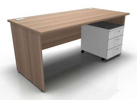 Kessel Rectangular Desk Panel Sides Mobile Pedestal In Birch & White