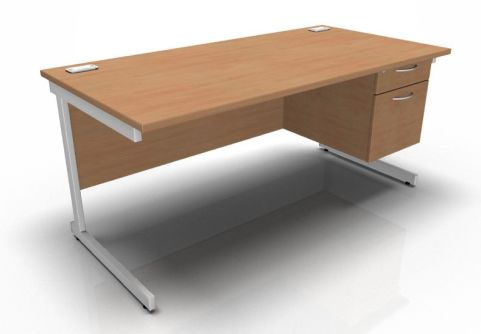 Kessel Rectangular Fixed Pedestal Desks - Cantilever Frame In Beech