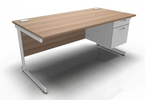Kessel Rectangular Fixed Pedestal Desks - Cantilever Frame In Birch & White