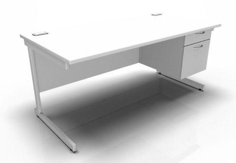Kessel Rectangular Fixed Pedestal Desks - Cantilever Frame In White
