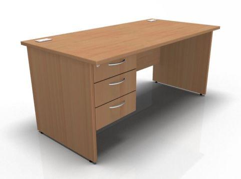 Kessel Rectangular Fixed Pedestal Desks - Panel Sides In Beech