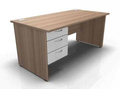 Kessel Rectangular Fixed Pedestal Desks - Panel Sides In Birch & White
