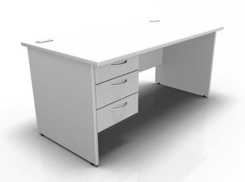 Kessel Rectangular Fixed Pedestal Desks - Panel Sides In White