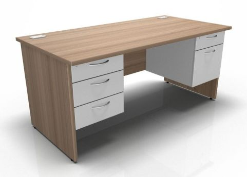 Kessel Rectangular Double Fixed Pedestal Desk - Panel Sides In Birch & White