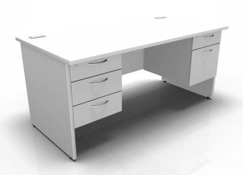 Kessel Rectangular Double Fixed Pedestal Desk - Panel Sides In White