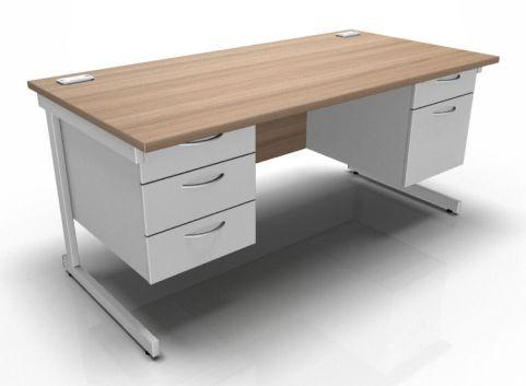 Kessel Rectangular Cantilever Double Fixed Pedestal Desk In Birch & White