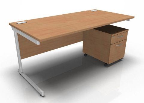 Kessel Rectangular Desk & Mobile Pedestal - Cantilever Frame In Beech