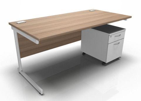Kessel Rectangular Desk & Mobile Pedestal - Cantilever Frame In Birch & White